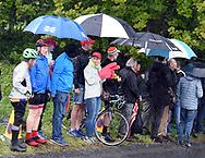 Spectators try to keep dry at Baggaby Hill during Stage 1 of the Tour de Yorkshire from Doncaster to Selby, Doncaster, United Kingdom on 2 May 2019.