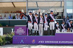 Team Great Britain, Fry Charlotte, Hughes Gareth, Dujardin Charlotte, Hester Carl<br /> European Championship Dressage - Hagen 2021<br /> © Hippo Foto - Dirk Caremans<br /> 08/09/2021