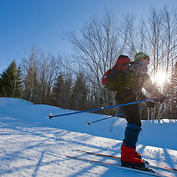 Cross-country skiing near Medawisla Wilderness Camps near Greenville, Maine.