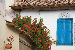 Cuzco, Peru, South America.  Flowers on roof and blue window shutters.