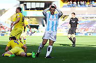 Harry Bunn of Huddersfield Town reacts after missing a goal scoring chance. Skybet football league Championship match, Huddersfield Town v Leeds United at the John Smith's Stadium in Huddersfield, Yorks on Saturday 7th November 2015.<br /> pic by Chris Stading, Andrew Orchard sports photography.