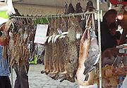 On Quai des Chartrons. A street market. Game: doves, rabbits, pheasants... On Les Quais. Bordeaux city, Aquitaine, Gironde, France