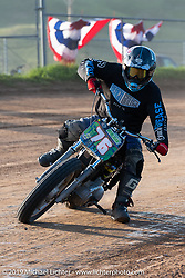 Hooligan flat tracker (no. 76) Josh Sleigh on his Harley-Davidson racer in the Spirit of Sturgis races at the fairgrounds during the Sturgis Black Hills Motorcycle Rally. Sturgis, SD, USA. Monday, August 5, 2019. Photography ©2019 Michael Lichter.