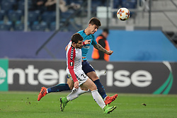 November 23, 2017 - Russia - defender Besir Demiri of FC Vardar and midfielder Emiliano Rigoni of FC Zenit during UEFA Europa League Football match Zenit - Vardar. Saint Petersburg, November 23,2017 (Credit Image: © Anatoliy Medved/Pacific Press via ZUMA Wire)