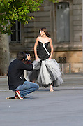 Fashion photo shoot. Place Pey Berland. Bordeaux city, Aquitaine, Gironde, France