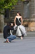 Fashion photo shoot. Place Pey Berland. Bordeaux city, Aquitaine, Gironde, France