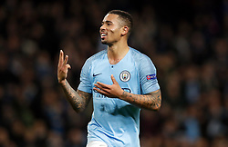 Manchester City's Gabriel Jesus celebrates scoring his side's sixth goal of the game and completing his hat-trick during the UEFA Champions League match at the Etihad Stadium, Manchester.