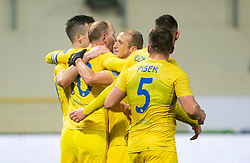 Players of Domzale celebrate after scoring second goal during football match between NK Domzale and NK Maribor in 20th Round of Prva liga Telekom Slovenije 2020/21, on February 10, 2021 in Sports park Domzale, Slovenia. Photo by Vid Ponikvar / Sportida