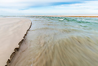 Heuningnes River flowing into the sea, De Mond Nature Reserve, CapeNature, Western Cape, South Africa
