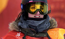 February 12, 2018 - Pyeongchang, South Korea - Kaja Verdnik of Slovenia has her eyes on the score board after her attempt during the Ladies Halfpipe Qualification Round 2 at the 2018 Pyeongchang Winter Olympics. (Credit Image: © Daniel A. Anderson via ZUMA Wire)
