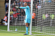 Watford goalkeeper Heurelho Gomes shouts his instructions. Premier league match, Swansea city v Watford at the Liberty Stadium in Swansea, South Wales on Saturday 23rd September 2017.<br /> pic by  Andrew Orchard, Andrew Orchard sports photography.