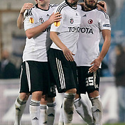 Besiktas's Fabian ERNST (L) and Egemen KORKMAZ (R), Tomas SIVOK (C) during their UEFA Europa League Group Stage Group E soccer match Besiktas between Dynamo Kyiv at Inonu stadium in Istanbul Turkey on Thursday November 03, 2011. Photo by TURKPIX