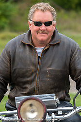 Kelly Modlin after riding his 1927 Henderson Deluxe through the finish during Stage 7 of the Motorcycle Cannonball Cross-Country Endurance Run, which on this day ran from Sedalia, MO to Junction City, KS., USA. Thursday, September 11, 2014.  Photography ©2014 Michael Lichter.