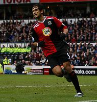 Photo: Steve Bond/Sportsbeat Images.<br />Derby County v Blackburn Rovers. The FA Barclays Premiership. 30/12/2007. Roque Santa Cruz wheels away after scoring
