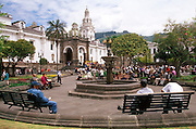 ECUADOR, COLONIAL QUITO Plaza Independencia; gardens