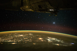 November 12, 2015 - Earth Atmosphere - As night falls the astronauts and cosmonauts aboard the International Space Station prepare for sleep while also viewing the softening curvature of the Earth go by with lighted cities below them and sparkling stars above. (Credit Image: ? NASA/ZUMA Wire/ZUMAPRESS.com)