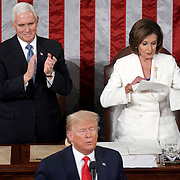 Speaker Nancy Pelosi (D-Calif.) rips up her copy of President Trump's third State of the Union address after a joint session of Congress on Tuesday, February 4, 2020.