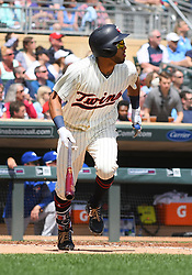 May 2, 2018 - Minneapolis, MN, U.S. - MINNEAPOLIS, MN - MAY 02: Minnesota Twins Left field Eddie Rosario (20) hits a solo home run in the bottom of the 2nd during a MLB game between the Minnesota Twins and Toronto Blue Jays on May 2, 2018 at Target Field in Minneapolis, MN.The Twins defeated the Blue Jays 4-0.(Photo by Nick Wosika/Icon Sportswire) (Credit Image: © Nick Wosika/Icon SMI via ZUMA Press)