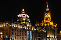 Shanghai, China - April 7, 2013: custom house and hsbc building the bund at night at the city of Shanghai in China on april 7th, 2013