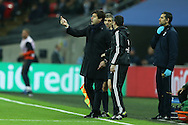 Mauricio Pochettino, the Tottenham Hotspur manager giving his instructions from the touchline. UEFA Champions league match, group E, Tottenham Hotspur v CSKA Moscow at Wembley Stadium in London on Wednesday 7th December 2016.<br /> pic by John Patrick Fletcher, Andrew Orchard sports photography.