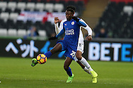 Wilfred Ndidi of Leicester city in action. Premier league match, Swansea city v Leicester City at the Liberty Stadium in Swansea, South Wales on Sunday 12th February 2017.<br /> pic by Andrew Orchard, Andrew Orchard sports photography.