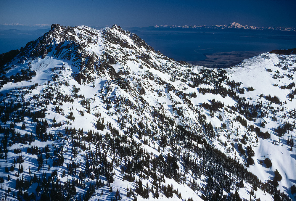 Aerial view, Mount Angeles, Mount Baker in the distance, morning light, December, Olympic National Park, Washington, USA