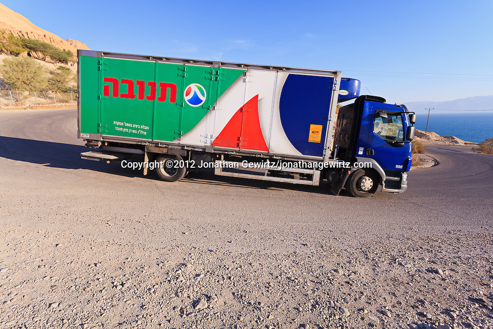 A Tnuva truck delivering dairy products near the Dead Seai. WATERMARKS WILL NOT APPEAR ON PRINTS OR LICENSED IMAGES.