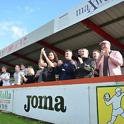 TELFORD COPYRIGHT MIKE SHERIDAN AFC Telford fans during the National League North fixture between Brackley Town and AFC Telford United at St James's Park on Saturday, September 7, 2019<br /> <br /> Picture credit: Mike Sheridan<br /> <br /> MS201920-016