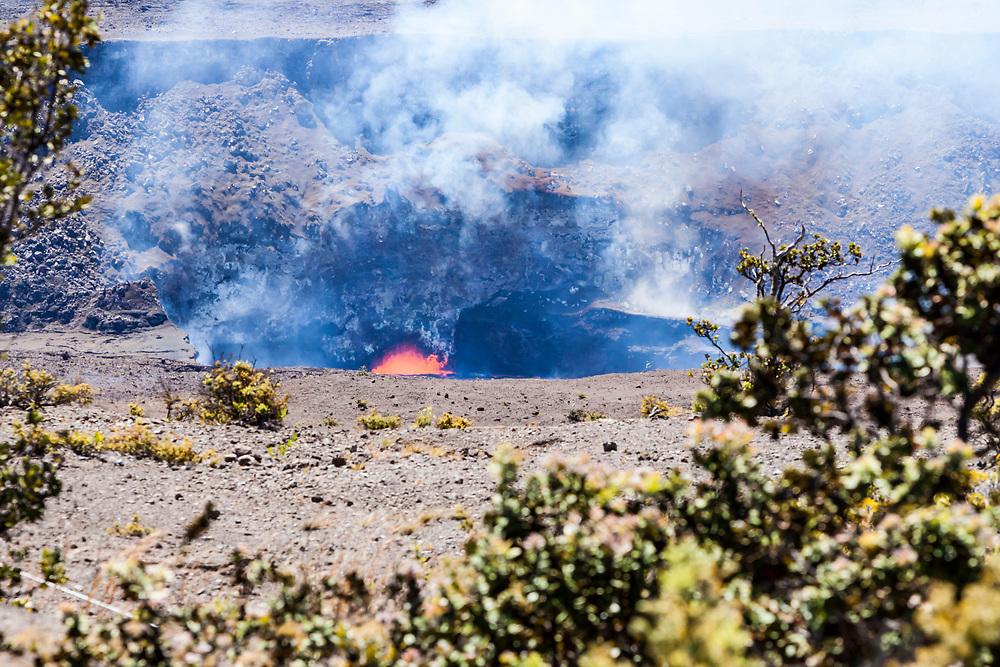The bubbling lava lake in Kilauea Caldera / Halema'uma'u crater April 2017, Hawai'i Volcanoes National Park, Hawaii, USA.