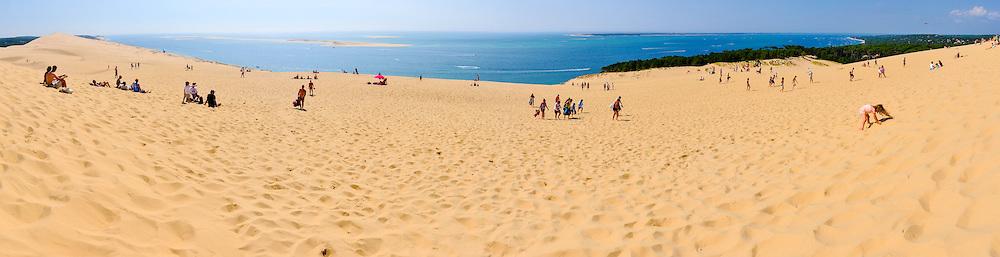 France, La Teste-de-Buch, Arcachon Bay. Dune du Pilat, the tallest sand dune in Europe. Stitched panorama.