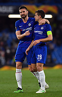 Football - 2018 / 2019 UEFA Europa League - Quarter-Final, Second Leg: Chelsea (1) vs. Slavia Prague (0)<br /> <br /> Chelsea's Olivier Giroud with Cesar Azpilicueta after their 4-3 victory, at Stamford Bridge.<br /> <br /> COLORSPORT/ASHLEY WESTERN