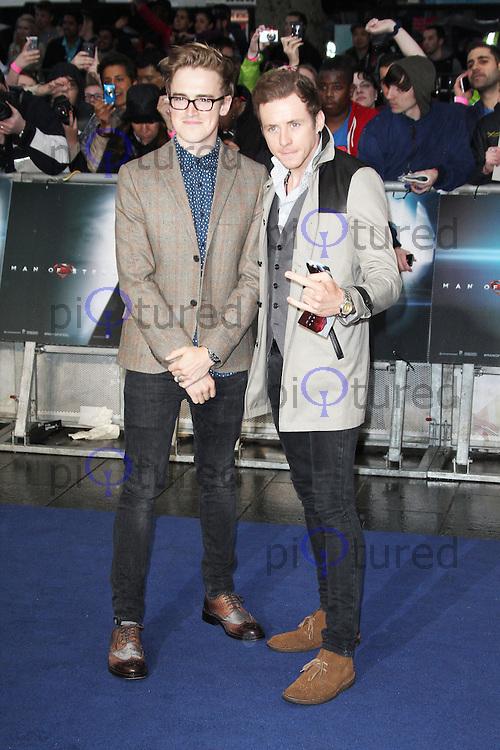 Tom Fletcher; Danny Jones; McFly, Man of Steel European Film Premiere, Leicester Square London UK, 12 June 2013, (Photo by Richard Goldschmidt)