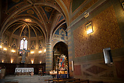 Romanesque with Baroque interior of Saint Andrea Church in Spello, Umbria, Italy. Chiesa di SantAndrea was built in the first half of the eleventh century and was an example of Francisan architecture.