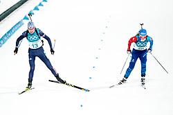 February 12, 2018 - Pyeongchang, SOUTH KOREA - 180212 Anastasiya Kuzmina of Slovakia and Anais Bescond of France competes in the Women's Biathlon 10km Pursuit during day three of the 2018 Winter Olympics on February 12, 2018 in Pyeongchang..Photo: Jon Olav Nesvold / BILDBYRN / kod JE / 160156 (Credit Image: © Jon Olav Nesvold/Bildbyran via ZUMA Press)