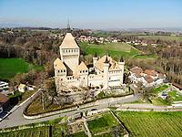 Aerial view of Vufflens Castle, Lausanne, Switzerland.