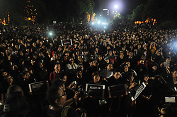 May 10, 2017 - Jakarta, Indonesia - Again Supporting Jakarta Governor Basuki Tjahaja Purnama is known as 'Ahok', singing as they gather in black clothes at Proclamation monument, Jakarta, Indonesia, May 10, 2017. They ask for ''Ahok'' to be released soon , After an Indonesian court sentenced him to two years in prison for blasphemy. Thousands of Ahok supporters protest the decision. (Credit Image: © Dasril Roszandi/NurPhoto via ZUMA Press)