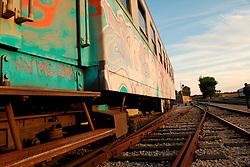 Le Ferrovie del Sud Est nascono in Puglia, nell'ottobre del 1931. A questà nuova società veniva dato in concessione l'insieme delle reti ferroviarie precedentemente gestite da diversi organismi (Società per le Ferrovie Salentine, Società per le Ferrovie Sussidiate, Ferrovie dello Stato)..Le aree pugliesi attraversate dalla società ferroviaria sono l'area barese, la fascia Taranto-Brindisi e l'area leccese-salentina, collegando fra loro i capoluoghi di Bari, Taranto e Lecce, nonché oltre 130 comuni delle province meridionali..Il reportage fotografico sulle Ferrovie Sud Est intende testimoniare l'evoluzione tecnologica che, durante gli anni, ha modificato e migliorato il servizio ferroviario e la convivenza del progresso con tracce del passato, attraverso un viaggio tra le stazioni e i depositi..Predellino e facciata laterale di un treno Carminati, parcheggiato nel deposito di Munivacca.