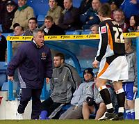 Photo: Alan Crowhurst.<br />Cardiff City v Hull FC. Coca Cola Championship. 18/02/2006. <br />Hull coach Peter Taylor (L) isn't happy.