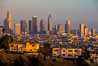 Looking to Downtown Los Angeles from Griffith Park; California USA.