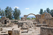 Cyprus, Pafos Archeological site the 13th century Saranda Kolones castle the harbour and bay in the background