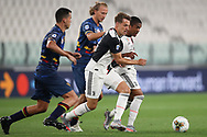 Juventus's Welsh midfielder Aaron Ramsey and Brazilian striker Douglas Costa are pursued by Lecce's Argentinian defender Nehuen Paz and Czech midfielder Antonin Barak during the Serie A match at Allianz Stadium, Turin. Picture date: 26th June 2020. Picture credit should read: Jonathan Moscrop/Sportimage