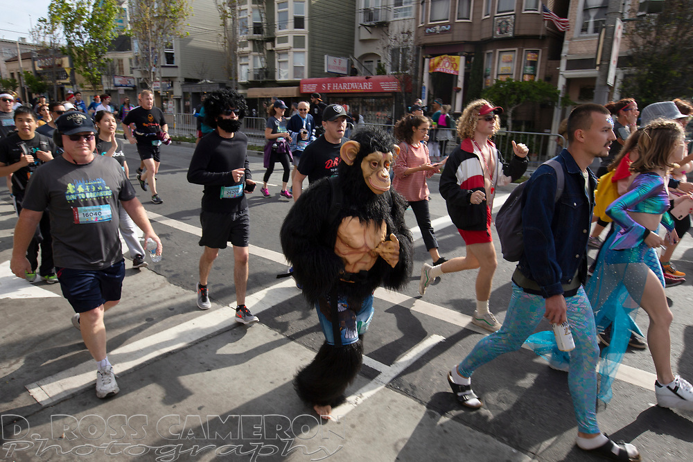 Runners, walkers and the costumed traverse the 7.46-mile course from San Francisco Bay to the Pacific Ocean at the 107th running of the Bay to Breakers, Sunday, May 20, 2018, in San Francisco. (Photo by D. Ross Cameron)