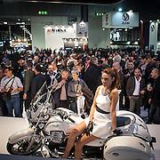 Motosalone Eicma edizione 2012: l'alta affluenza di pubblico vista dall stand moto Guzzi...International Motorcycle Exhibition 2012: high visitors flow viewed from Moto Guzzi stand.