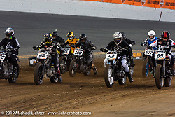 Rich Heverly (number 42), Aaron Guardado (number 46) and Buddy Suttle (number 85) in the front line Hooligan Racing during the American Flat Track TT at Daytona International Speedway - Daytona Bike Week. Daytona Beach, FL. USA. Thursday March 15, 2018. Photography ©2018 Michael Lichter.