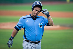 June 5, 2017 - St. Petersburg, Florida, U.S. - WILL VRAGOVIC       Times.Charlotte Stone Crabs catcher Wilson Ramos (36) comes off the field after being stranded at second base in the third inning of the game between the Charlotte Stone Crabs and the Clearwater Threshers at Spectrum Field in Clearwater, Fla. on Monday, June 6, 2017. (Credit Image: © Will Vragovic/Tampa Bay Times via ZUMA Wire)