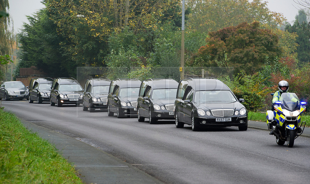 © London News Pictures. 24/10/2012. Harlow, UK.  The cortege of six coffins entering the Islamic centre before the Funeral of Dr Sabah Usmani and her five children Hira (12), Sohaib (11) Muneeb (9), Rayyan (6) and Maheen (3) at Harlow Islamic Centre in Harlow, Essex, UK on October 24, 2012. Dr Sabah Usmani and her five children died blaze at their home in Harlow last week. Photo credit: Ben Cawthra/LNP