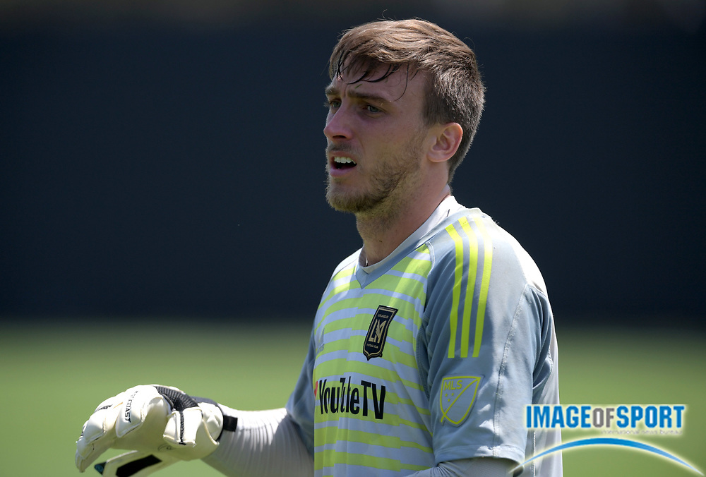 Apr 10, 2018; Los Angeles, CA, USA; LAFC goalkeeper Tyler Miller at practice at Cal State LA.
