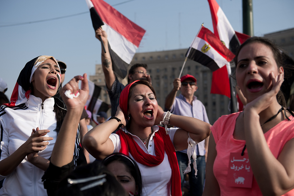 During a rally in Tahrir Square a group of women shouting slogans against President Morsi to demand his resignation. Cairo, Egypt, July 3, 2013
