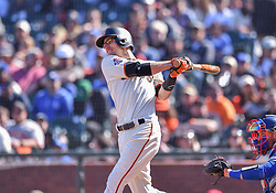 April 29, 2018 - San Francisco, CA, U.S. - SAN FRANCISCO, CA - APRIL 29: San Francisco Giants Infield Kelby Tomlinson (37) pinch hitter strikes out during the San Francisco Giants and Los Angeles Dodgers game at AT&T Park on April 29, 2018 in San Francisco, CA.  (Photo by Stephen Hopson/Icon Sportswire) (Credit Image: © Stephen Hopson/Icon SMI via ZUMA Press)