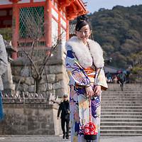Scene at Kiyomizu-dera Temple in Kyoto, Japan.